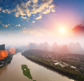 Yangshuo landscape in sunrise Royalty Free Stock Photography