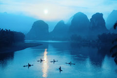 Yangshuo Landschaft im Sonnenaufgang Lizenzfreies Stockfoto