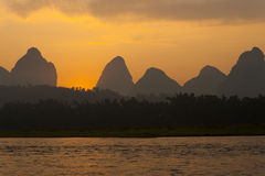 Yangshuo Li River Karst Horizontal Royalty Free Stock Photos