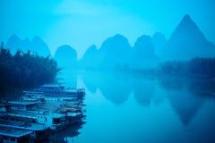 Yangshuo sceneria w cisza ranku obraz royalty free