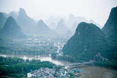 Yangshuo scenery. Beautiful karst mountain landscape in guilin,China Royalty Free Stock Images