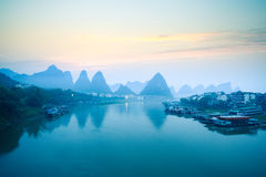Yangshuo scenery in dawn Royalty Free Stock Images