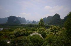 Yangshuo scenery. Green hills in Yangshuo,South China Stock Photo