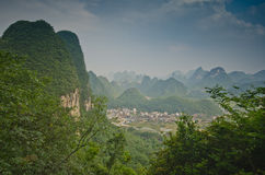 Yangshuo scenery. Green hills in Yangshuo,South China Stock Photography