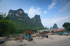 Yangshuo scenery. Green hills in Yangshuo,South China Royalty Free Stock Photography