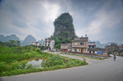 Yangshuo scenery. Green hills in Yangshuo,South China Royalty Free Stock Photo