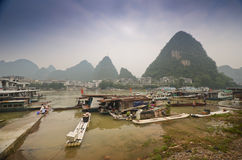 Yangshuo scenery. Green hills in Yangshuo,South China Royalty Free Stock Image