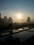 Yangshuo sunset. Yangshuo Guilinn Guangxi provence china Stock Photos