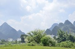 Yangshuo Yulong a field by the river Stock Photo