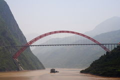 Yangtze river. In China upstream from the three gorges dam. foggy Royalty Free Stock Image
