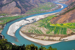 Yangtze River. The first is located in the Yangtze River Bay Chinese city of Lijiang in Yunnan Province town of Shek Kwu, Taotao river from the Qinghai-Tibet Royalty Free Stock Photo