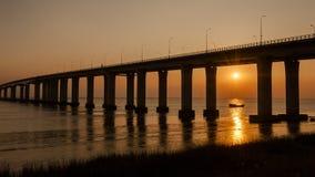 Yangtze River Bridge Sunset Stock Photo