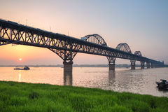 Yangtze river bridge in sunset Royalty Free Stock Photography