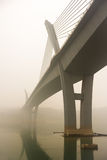 Yangtze River bro i dimma royaltyfri fotografi