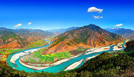 Yangtze River landscape. Aerial landscape view of a looping section of the Yangzte River in Lijiang, Yunnan Province, China Stock Image