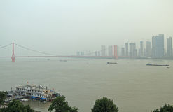 Yangtze river and pendant bridge in Wuhan Stock Image