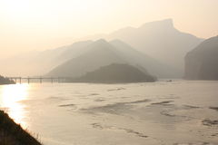 Yangtze river in rays of morning sun Stock Photo