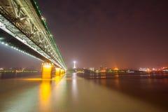 Yangtze river Road and Train bridge Royalty Free Stock Photo