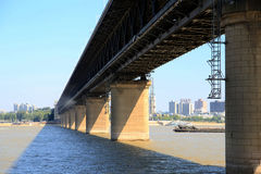 The Yangtze river steel bridge in Wuhan city stock photos