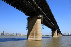 The Yangtze river steel bridge in Wuhan city Stock Photography