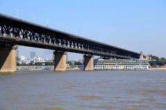 The Yangtze river steel bridge in Wuhan city stock photography
