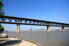 The Yangtze river steel bridge in Wuhan city royalty free stock photography