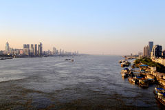 The Yangtze river steel bridge in Wuhan city stock images