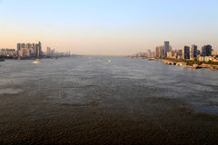 The Yangtze river steel bridge in Wuhan city Royalty Free Stock Photos