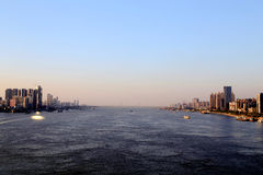The Yangtze river in Wuhan city Stock Photo