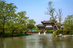 Yangzhou Slender West Lake on the garden Jinquan Huayu. Jinquan Huayu is the main attractions of Wan Garden, according to historical records, the history of stock photo
