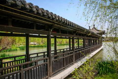 Yangzhou Slender West Lake on the garden of wave light Pavilion Gallery. Slender West Lake is located in Yangzhou City, Jiangsu Province, the northwest suburbs royalty free stock images