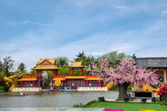 Yangzhou Slender West Lake Water Garden stage. Slender West Lake is located in Yangzhou City, Jiangsu Province, the northwest suburbs, is a famous scenic spots stock photos
