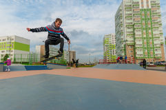 Yanino-1, Russia, October 17 2015: Openning new scatepark near Saint-Petersburg. Royalty Free Stock Photos