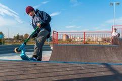Yanino-1, Russland, am 17. Oktober 2015: Öffnendes neues scatepark nahe St Petersburg Stockfoto