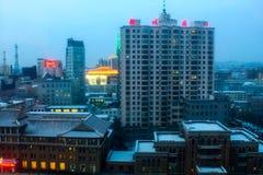 Yanji, Chine - 31 décembre 2017 : Vue de la rue principale de la ville image libre de droits