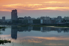 Yanji city river sunset Stock Photos