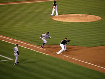 Yankee Alex Rodriguez runs to first base as Oakland A's first ba Stock Images