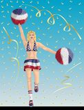 """Yankee Cheerleader of United States Fans. """"Yankee Cheerleader of United States Fans"""" Cheerleader girl, confetti papers and background are in different layers Royalty Free Stock Image"""