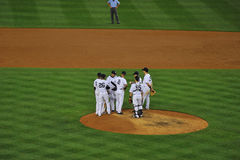 Yankee players on the mound Stock Photos
