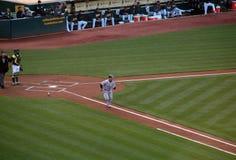 Yankee's Derek Jeter runs towards first Stock Images