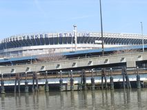 Yankee Stadium, structure, bridge, sport venue, waterway. Yankee Stadium is structure, waterway and arena. That marvel has bridge, fixed link and river and that royalty free stock photo