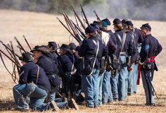 Yankees Stand Ready. Yankee soldiers stand ready for combat during a Civil War Reenactment at Anderson, California Royalty Free Stock Photos