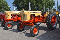Restored old Case  630 and 730 tractors. YANKTON, SOUTH DAKOTA, August 19, 2017: Restored Case630 and 730 tractors are displayed at the annual Riverboat Days Royalty Free Stock Image