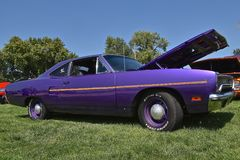 1970 Plymouth Road Runner. YANKTON, SOUTH DAKOTA, August 19, 2017: The restored classic purple 1970 Plymouth Road Runner is displayed at the car show at stock photography