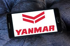 Yanmar diesel engine manufacturer logo. Logo of Yanmar company on samsung mobile. Yanmar is a Japanese diesel engine manufacturer. Their engines are used in a Royalty Free Stock Photos