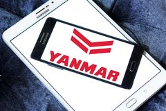 Yanmar diesel engine manufacturer logo. Logo of Yanmar company on samsung mobile. Yanmar is a Japanese diesel engine manufacturer. Their engines are used in a Royalty Free Stock Images