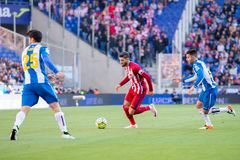 Yannick Carrasco plays at the La Liga match between RCD Espanyol and Atletico de Madrid Stock Photography