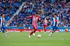 Yannick Ferreira Carrasco-spelen bij de gelijke van La Liga tussen RCD Espanyol en Atletico DE Madrid Royalty-vrije Stock Fotografie