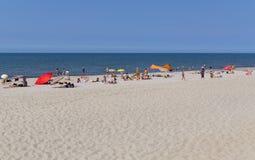 YANTARNY VILLAGE, RUSSIA: Sandy beach on coast of Baltic Sea Royalty Free Stock Images