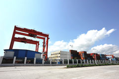 Yantian port under blue sky Royalty Free Stock Photography